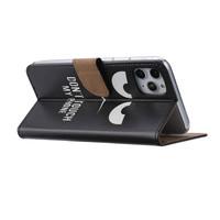 Don't Touch My Phone print lederen Bookcase hoesje voor de Apple iPhone 11 Pro Max - Zwart