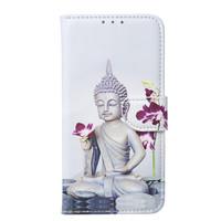 Buddha print lederen bookcase hoesje voor de Apple iPhone 11 Pro Max - Wit