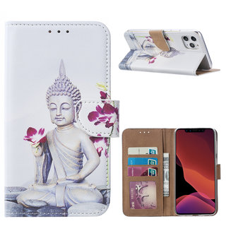 Buddha print lederen bookcase hoesje voor de Apple iPhone 11 Pro Max - Wit
