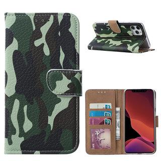 Leger Camouflage print lederen Bookcase hoesje voor de Apple iPhone 11 Pro Max