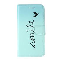 Smile print lederen Bookcase hoesje voor de Apple iPhone 11 Pro Max - Mintgroen
