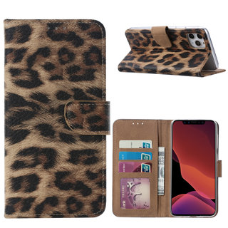 Panter print lederen Bookcase hoesje voor de Apple iPhone 11 Pro Max