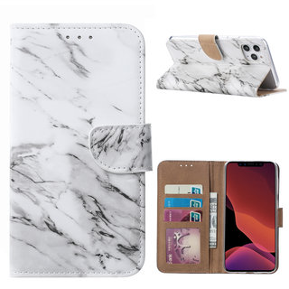 Marmer print lederen Bookcase hoesje voor de Apple iPhone 11 Pro Max - Wit