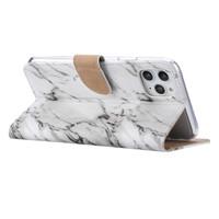 Marmer print lederen Bookcase hoesje voor de Apple iPhone 11 Pro Max - Wit
