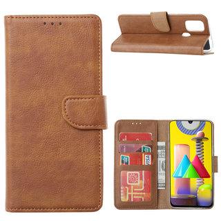 Bookcase Samsung Galaxy M31 hoesje - Bruin