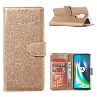 Bookcase Motorola Moto G9 Play hoesje - Goud