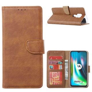 Bookcase Motorola Moto G9 Play hoesje - Bruin