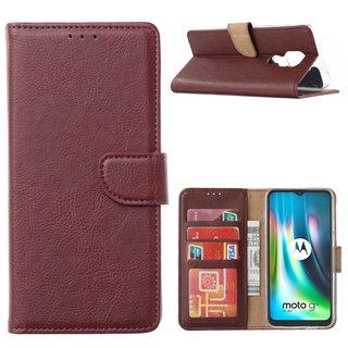 Bookcase Motorola Moto G9 Play hoesje - Bordeauxrood