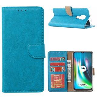 Bookcase Motorola Moto G9 Play hoesje - Blauw
