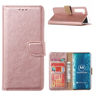 Bookcase Motorola Edge hoesje - Rosé Goud