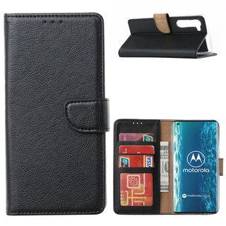 Bookcase Motorola Edge hoesje - Zwart