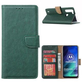 Bookcase Motorola One Fusion hoesje - Smaragdgroen