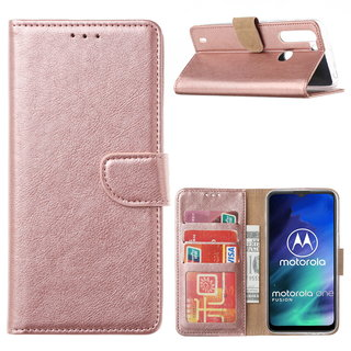 Bookcase Motorola One Fusion hoesje - Rosé Goud