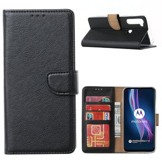 Bookcase Motorola One Fusion Plus hoesje - Zwart