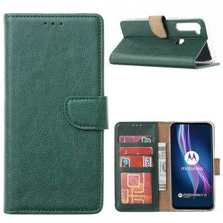 Bookcase Motorola One Fusion Plus hoesje - Smaragdgroen