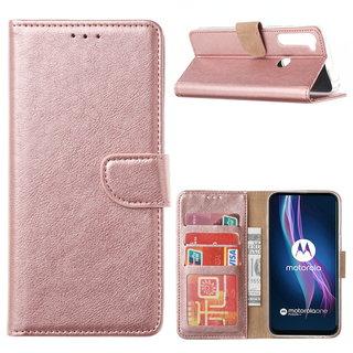Bookcase Motorola One Fusion Plus hoesje - Rosé Goud