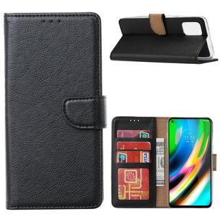 Bookcase Motorola Moto G9 Plus hoesje - Zwart