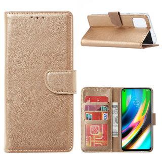 Bookcase Motorola Moto G9 Plus hoesje - Goud
