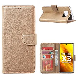 Bookcase Xiaomi Poco X3 Hoesje - Goud