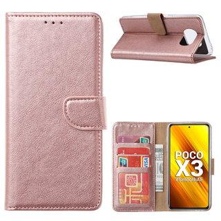 Bookcase Xiaomi Poco X3 Hoesje - Rosé Goud