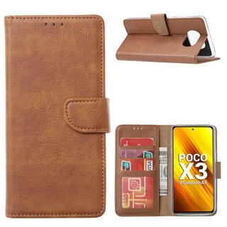 Bookcase Xiaomi Poco X3 Hoesje - Bruin