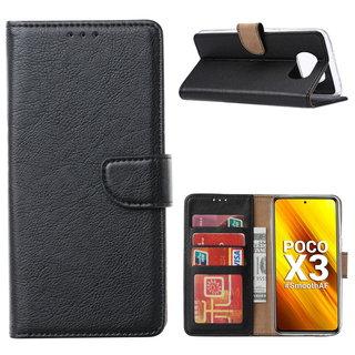 Bookcase Xiaomi Poco X3 Hoesje - Zwart
