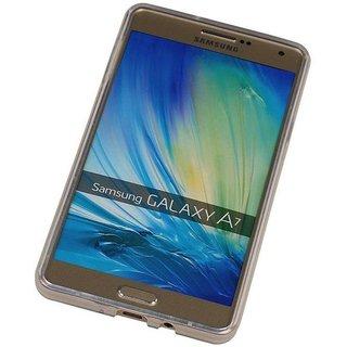TPU Siliconen hoesje voor de achterkant van de Samsung Galaxy A7 - Transparant / Grijs / Roze