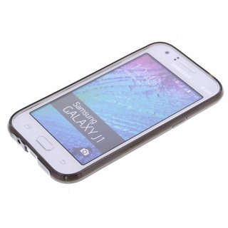 TPU Siliconen hoesje voor de achterkant van de Samsung Galaxy J1 - Transparant / Grijs / Bruin