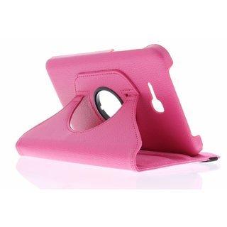 Samsung Galaxy Tab 3 Lite 7.0 inch (T110) 360° Rotating Case - Roterende Hoes - Zwart / Roze