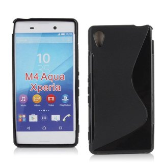 Sony Xperia M4 Aqua siliconen S-line (gel) achterkant hoesje - Zwart