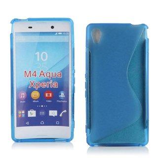 Sony Xperia M4 Aqua siliconen S-line (gel) achterkant hoesje - Blauw