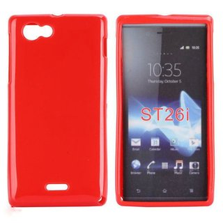 Sony Xperia J (ST26I) siliconen (gel) achterkant hoesje - Rood