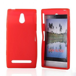 Sony Xperia P (LT22i) siliconen (gel) achterkant hoesje - Rood