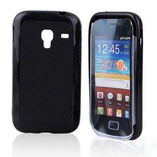 Samsung Galaxy Ace Plus siliconen (gel) achterkant hoesje - Zwart