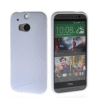 HTC One (M8) siliconen S-line (gel) achterkant hoesje - Wit