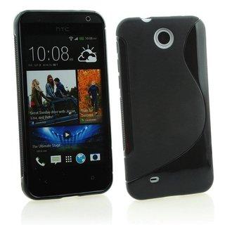HTC Desire 300 siliconen S-line (gel) achterkant hoesje - Zwart