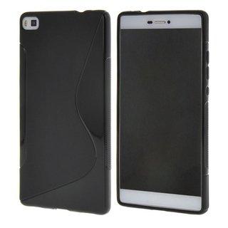 Huawei P8 siliconen S-line (gel) achterkant hoesje - Zwart