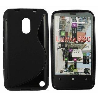 Nokia Lumia 620 siliconen S-line (gel) achterkant hoesje - Zwart
