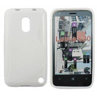 Nokia Lumia 620 siliconen S-line (gel) achterkant hoesje - Wit