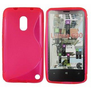 Nokia Lumia 620 siliconen S-line (gel) achterkant hoesje - Roze