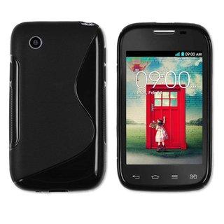 LG L40 siliconen S-line (gel) achterkant hoesje - Zwart