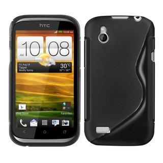 HTC Desire X S-line (gel) achterkant hoesje - Zwart