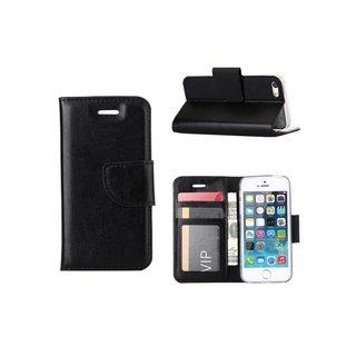 Luxe Lederen Bookcase hoesje voor de Apple iPhone 5G / 5S en SE - Zwart