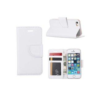 Luxe Lederen Bookcase hoesje voor de Apple iPhone 5G / 5S en SE - Wit