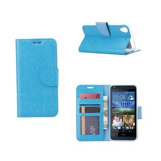 Luxe Lederen Bookcase hoesje voor de HTC Desire 626 - Lichtblauw