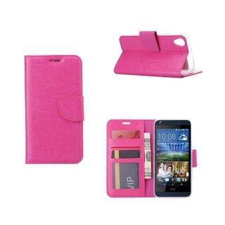 Luxe Lederen Bookcase hoesje voor de HTC Desire 626 - Roze