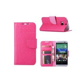 Luxe Lederen Bookcase hoesje voor de HTC One M8 - Roze