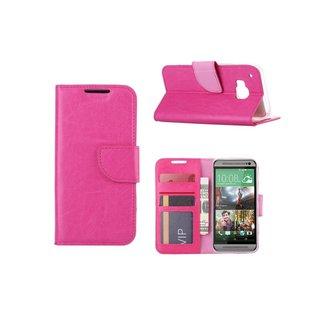 Luxe Lederen Bookcase hoesje voor de HTC One M9 - Roze