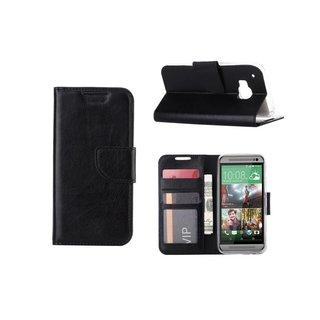 Luxe Lederen Bookcase hoesje voor de HTC One M9 - Zwart