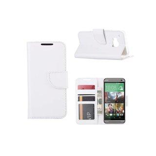Luxe Lederen Bookcase hoesje voor de HTC One M9 - Wit